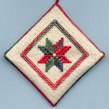 Danish Star Ornament - Green/Red (front)